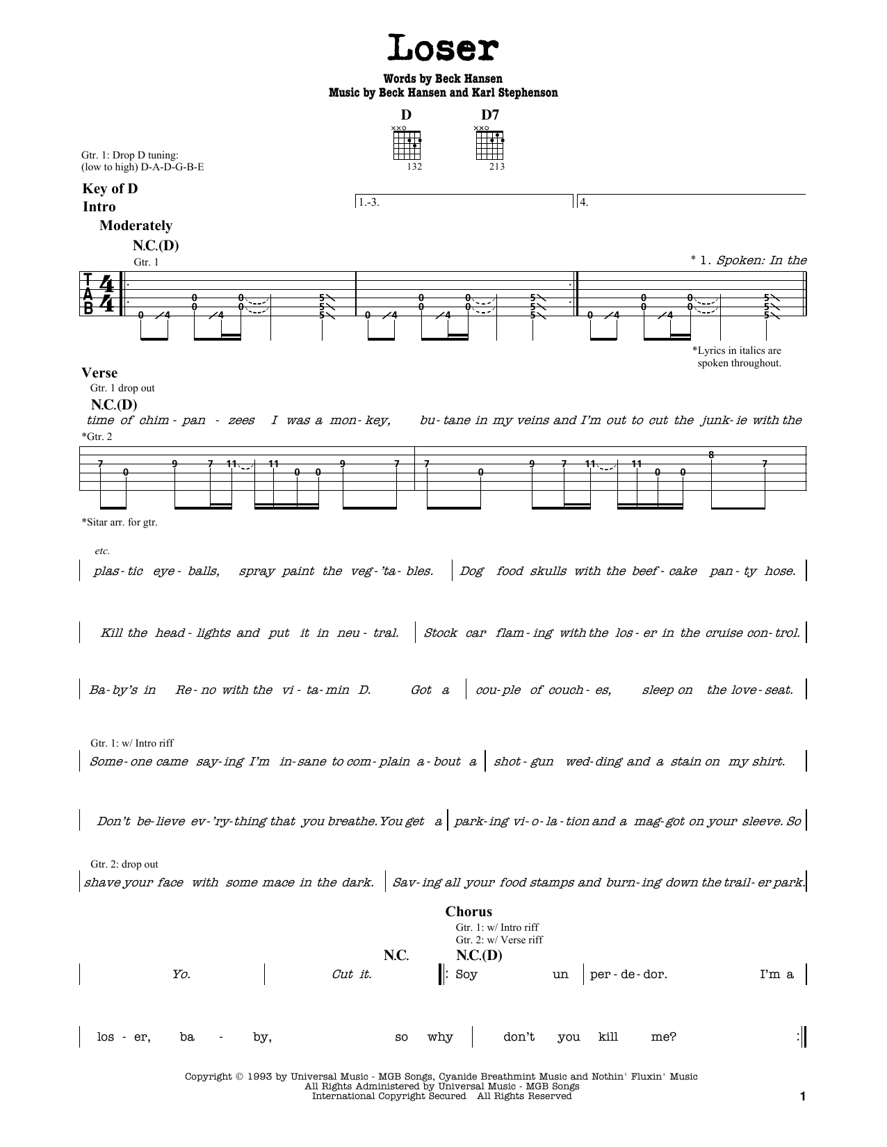 Partition autre Loser de Beck - Tablature Guitare Lead