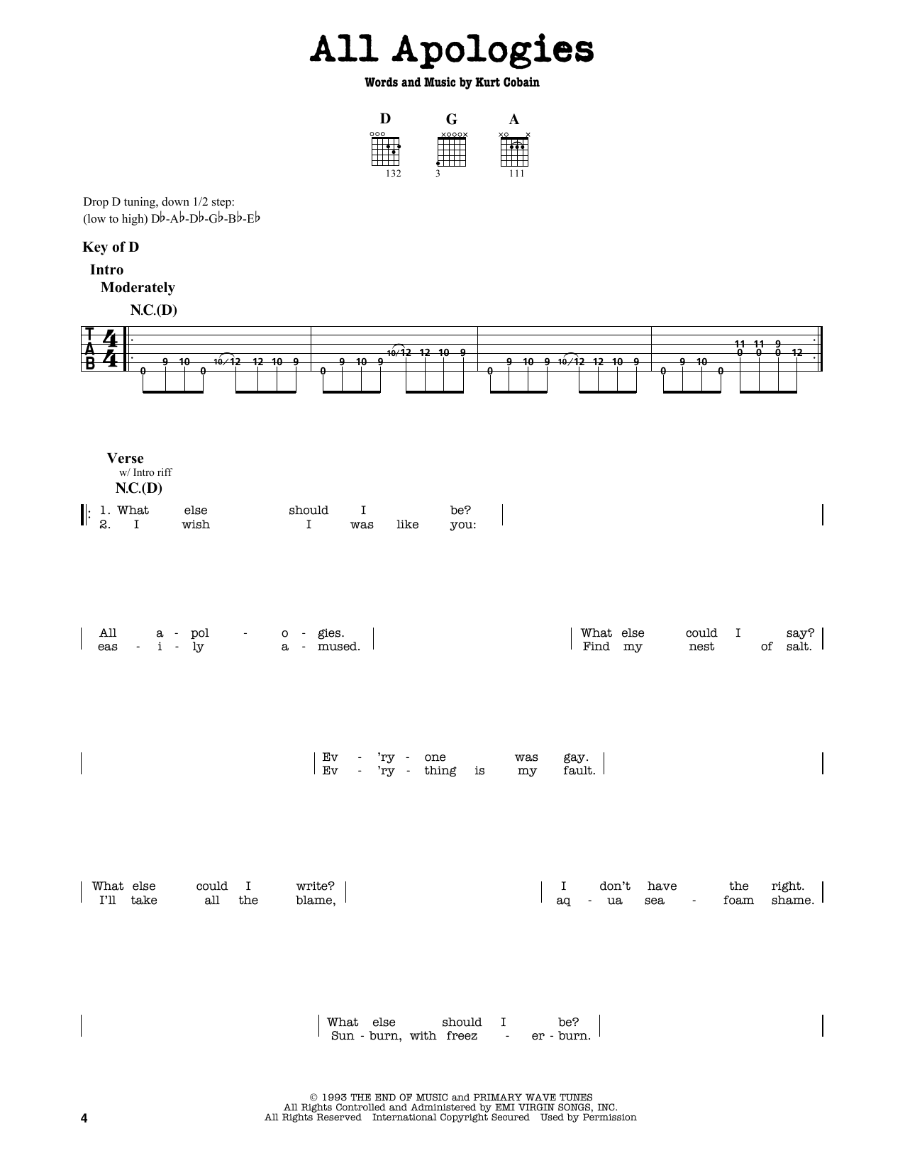 Partition autre All Apologies de Nirvana - Tablature Guitare Lead