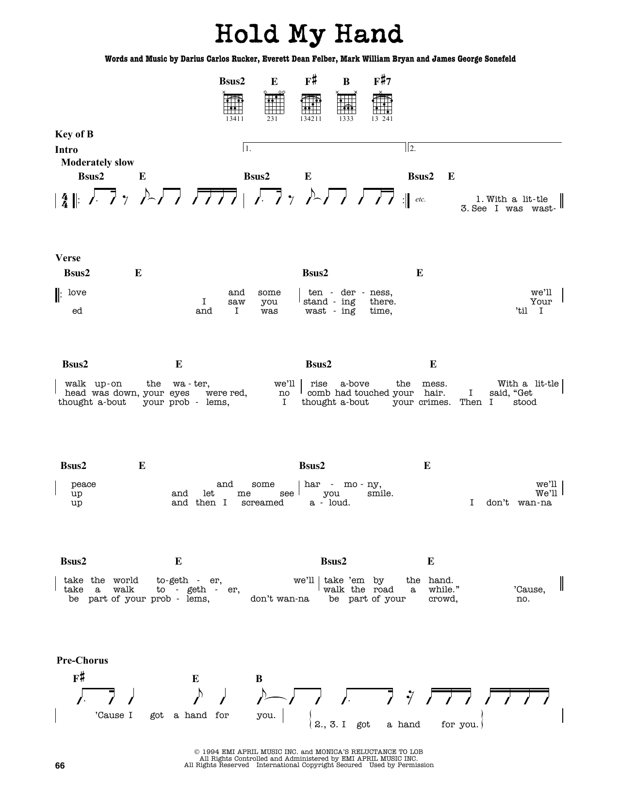 Partition autre Hold My Hand de Hootie & The Blowfish - Tablature Guitare Lead