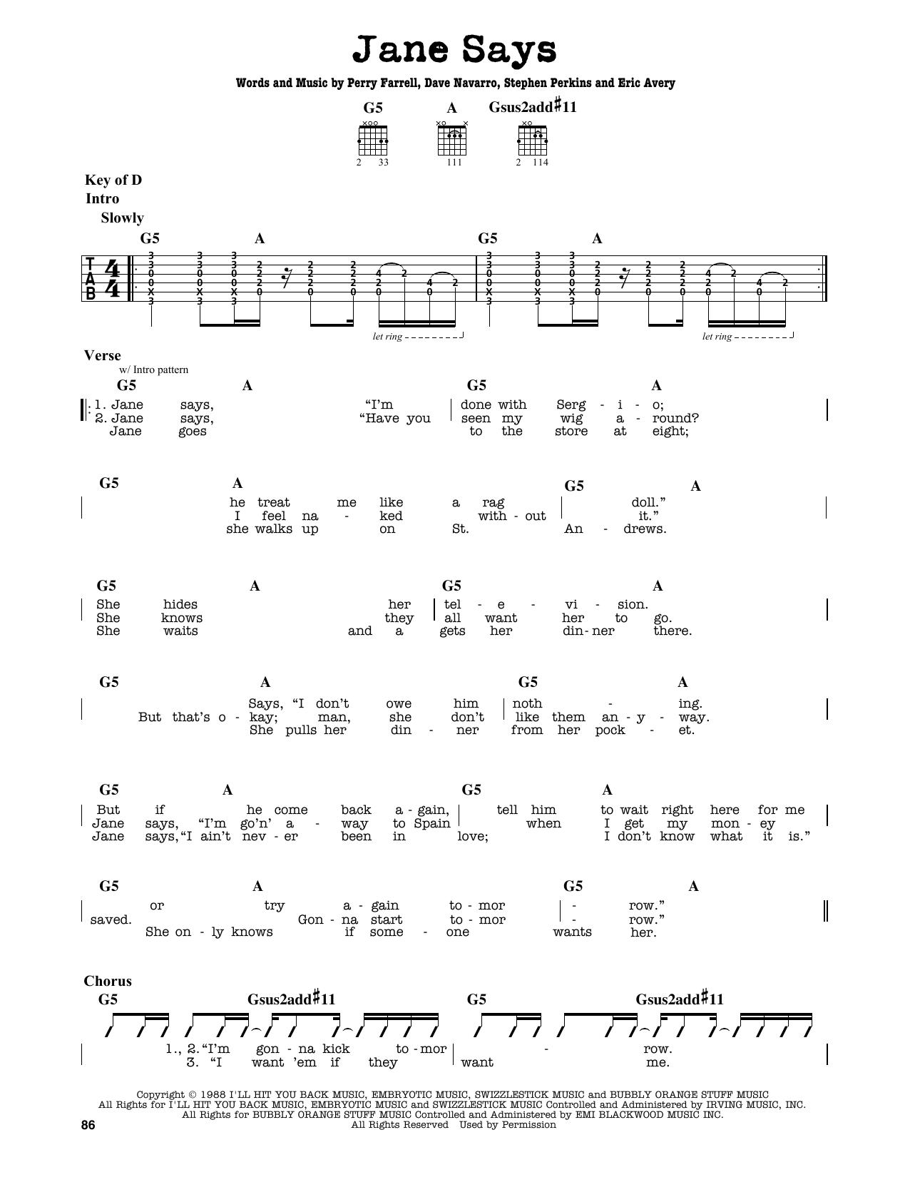 Partition autre Jane Says de Jane's Addiction - Tablature Guitare Lead