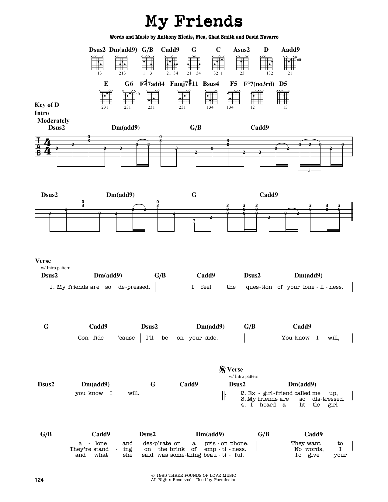 Partition autre My Friends de Red Hot Chili Peppers - Tablature Guitare Lead
