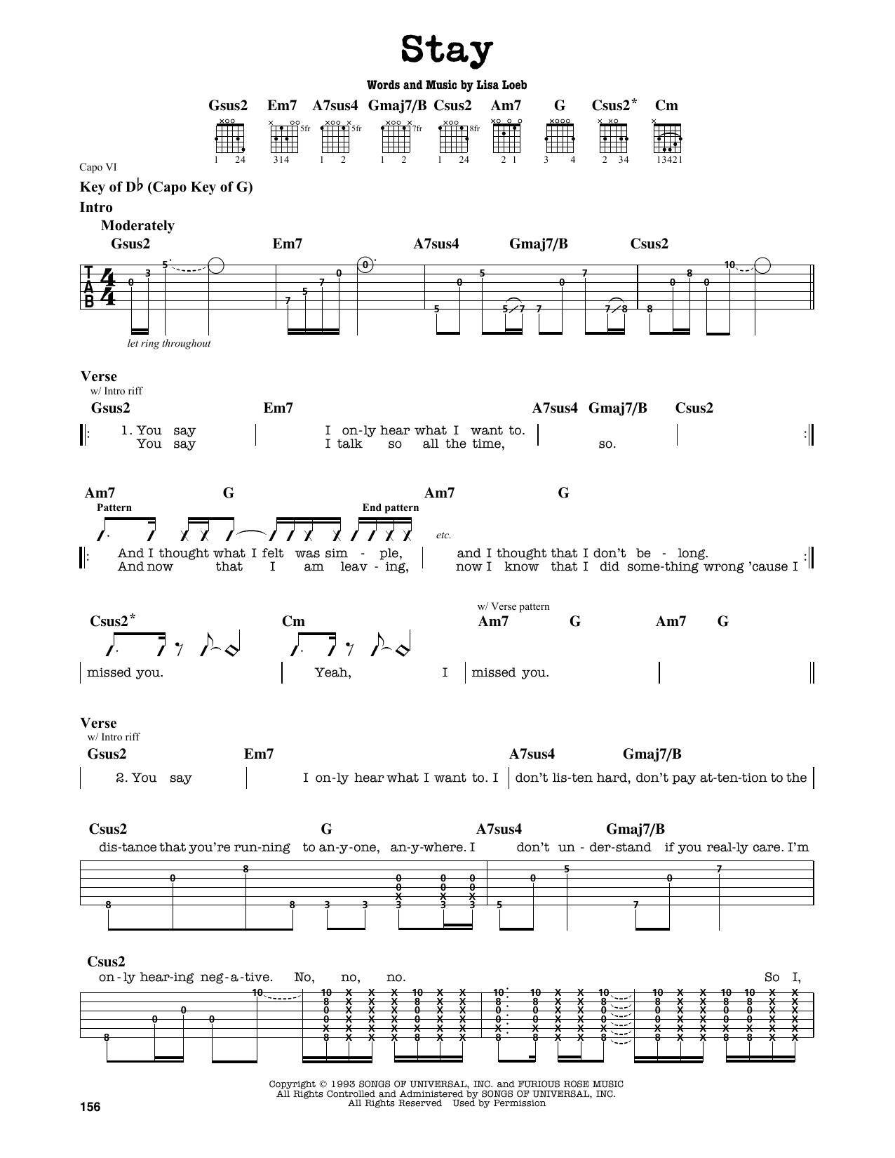 Partition autre Stay (I Missed You) de Lisa Loeb - Tablature Guitare Lead