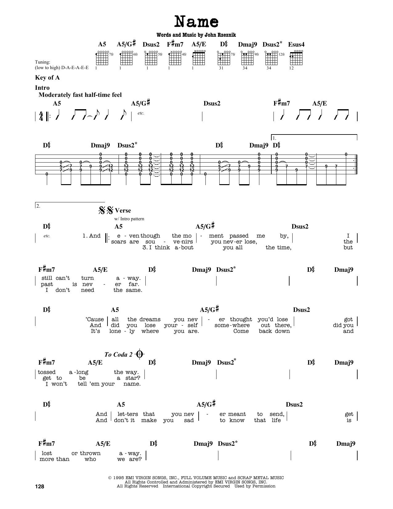 Partition autre Name de Goo Goo Dolls - Tablature Guitare Lead