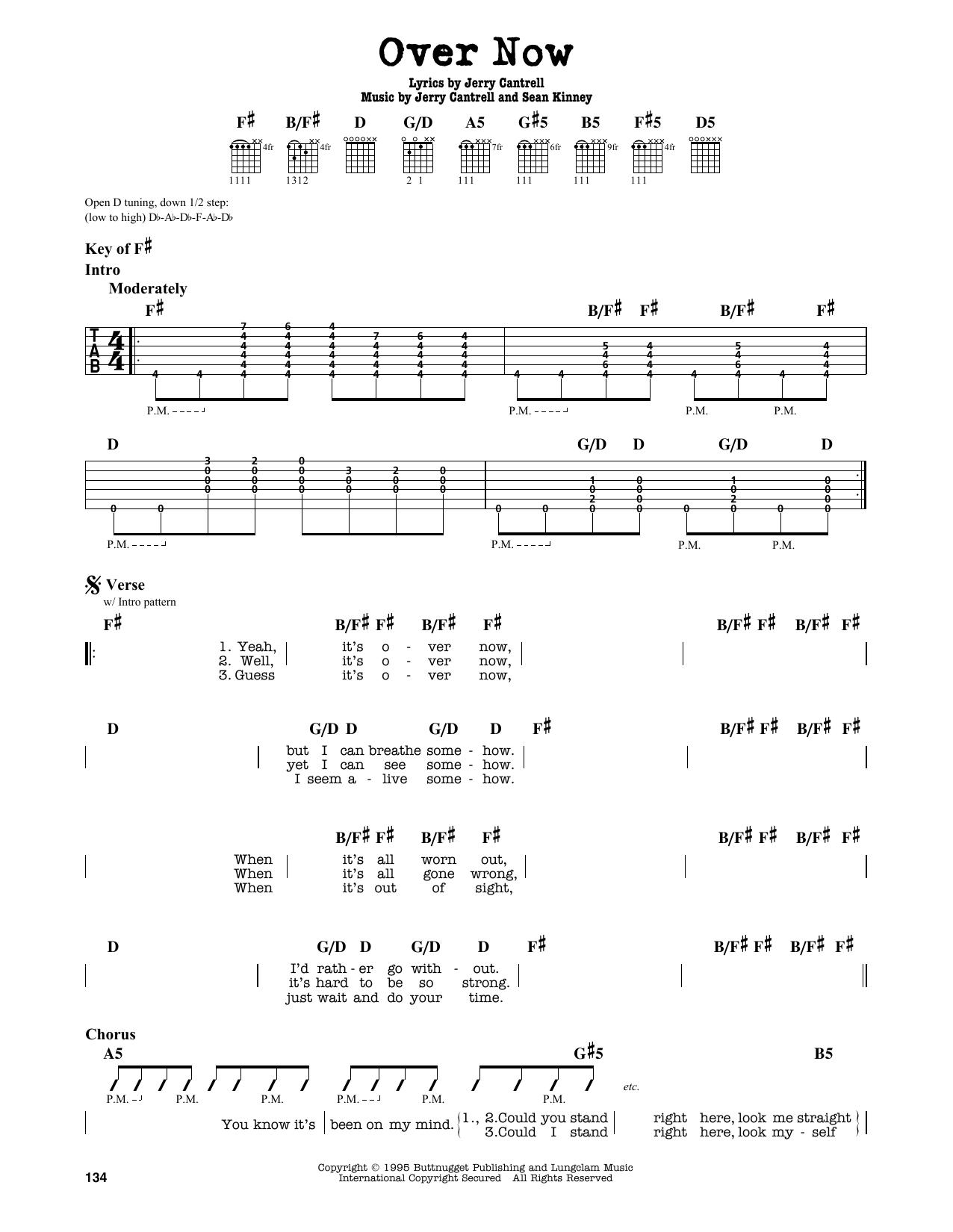 Partition autre Over Now de Alice In Chains - Tablature Guitare Lead