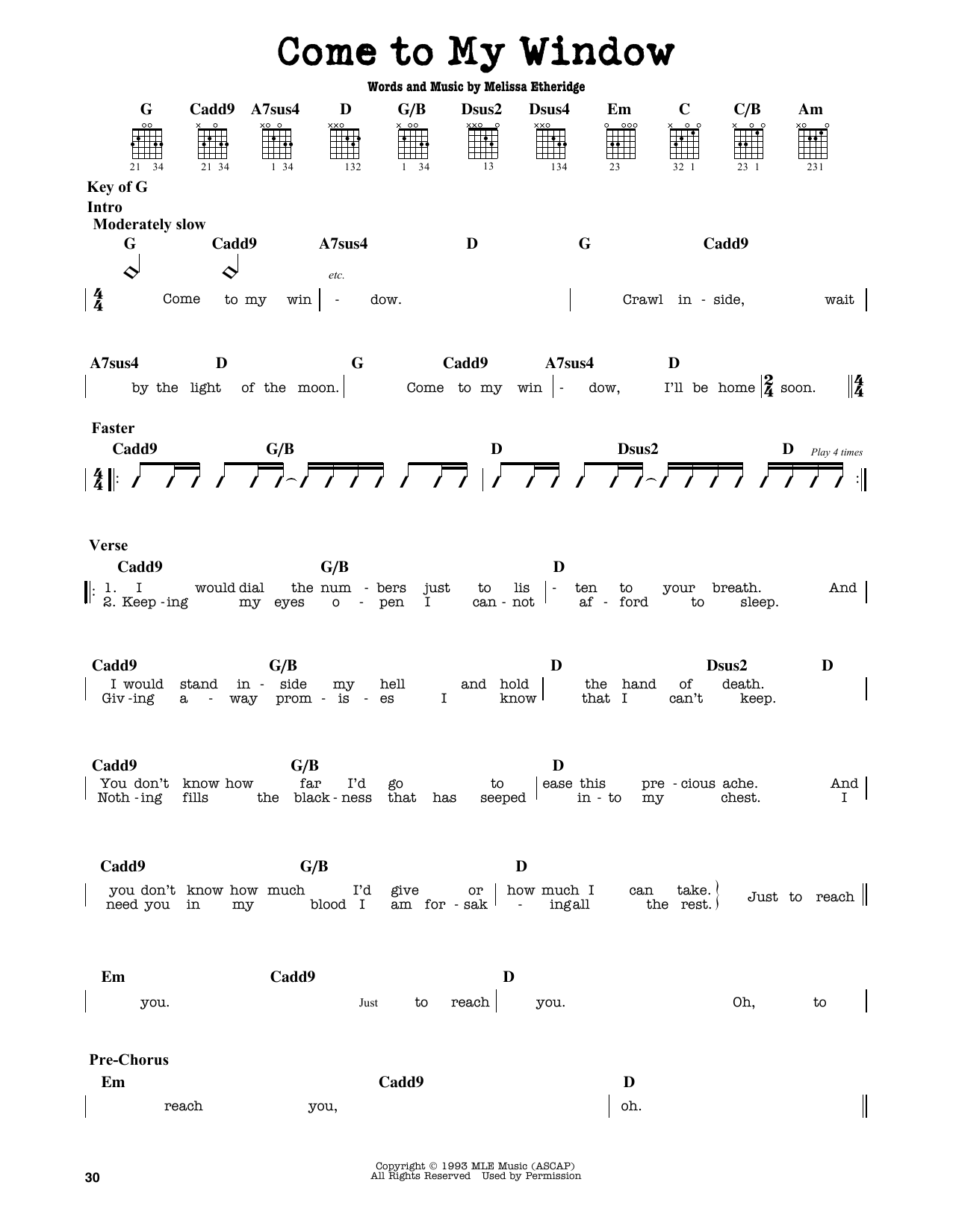 Partition autre Come To My Window de Melissa Etheridge - Tablature Guitare Lead