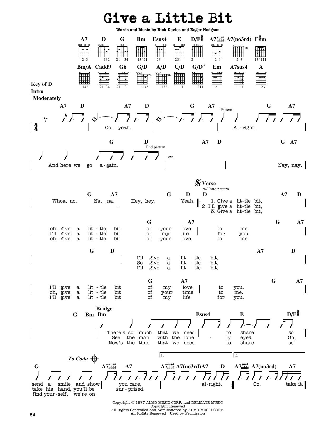 Partition autre Give A Little Bit de Supertramp - Tablature Guitare Lead