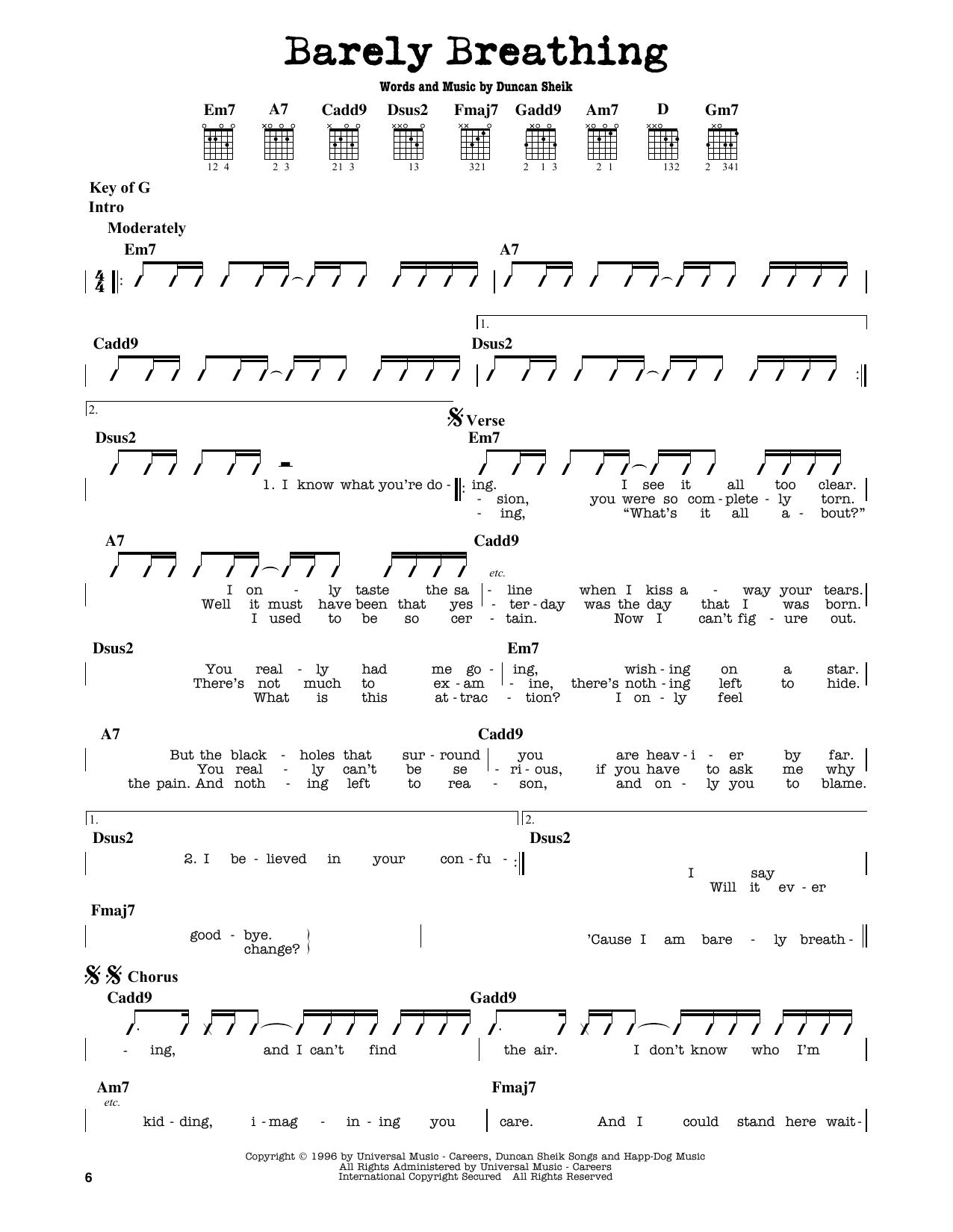Partition autre Barely Breathing de Duncan Sheik - Tablature Guitare Lead