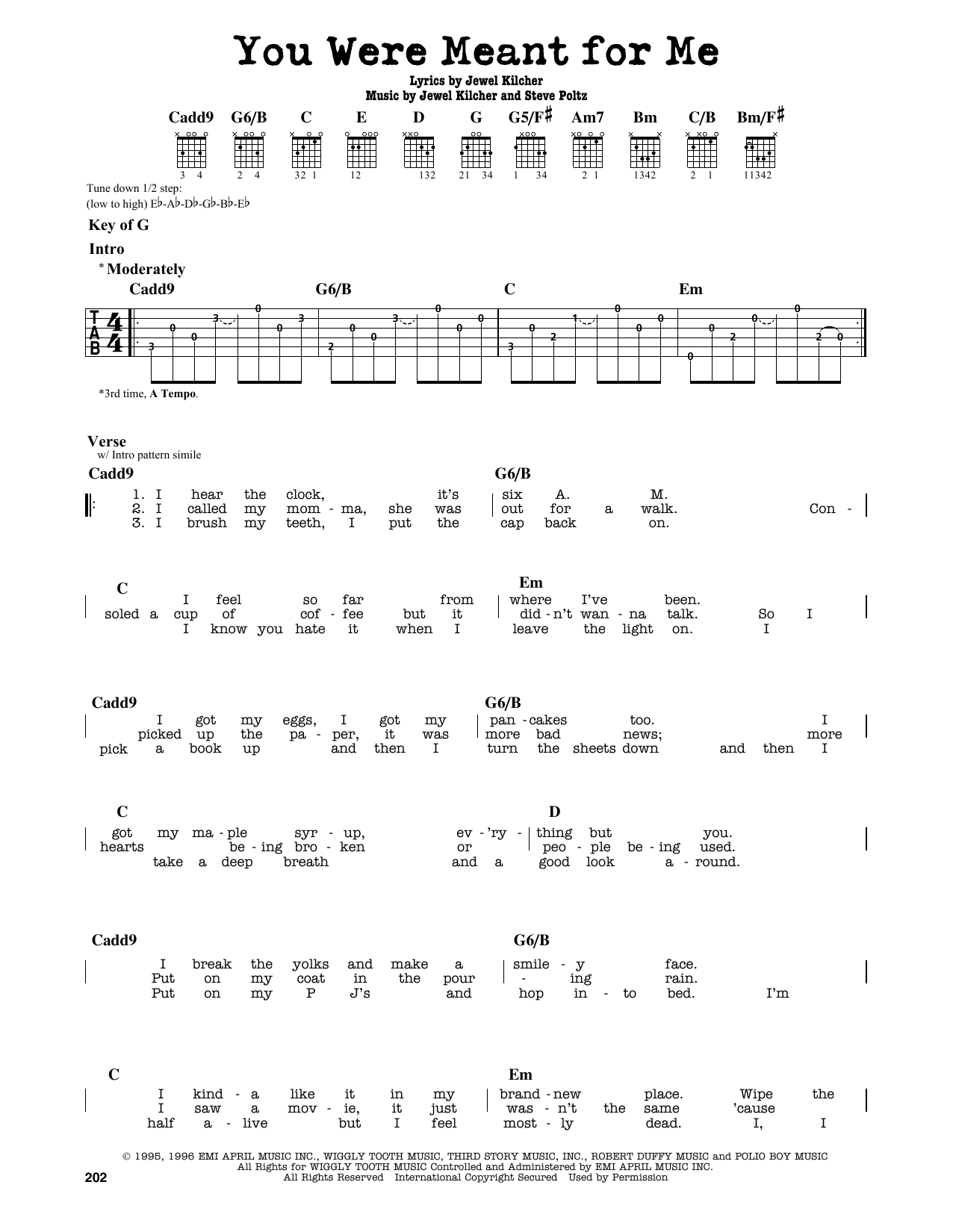 Partition autre You Were Meant For Me de Jewel - Tablature Guitare Lead