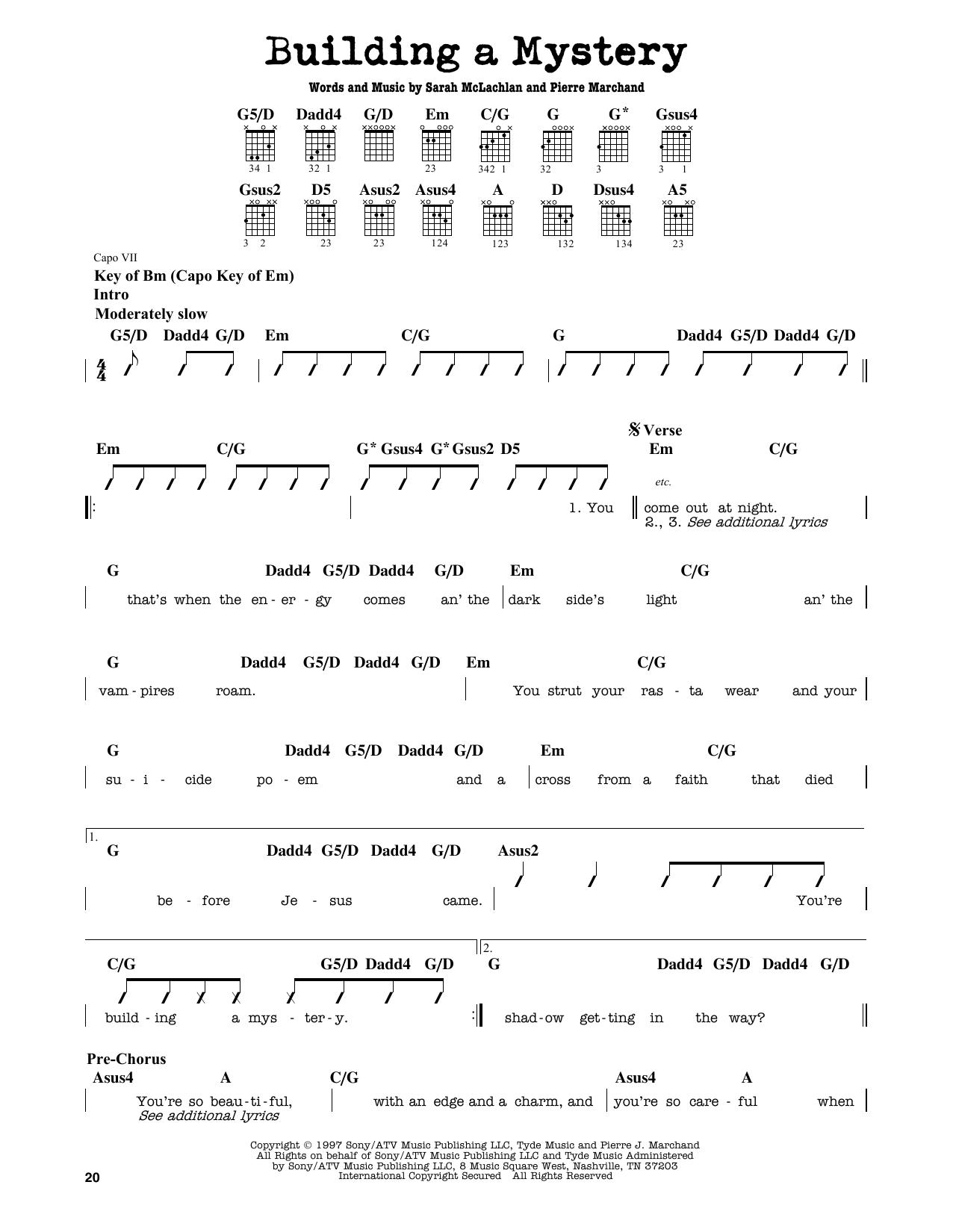 Partition autre Building A Mystery de Sarah McLachlan - Tablature Guitare Lead