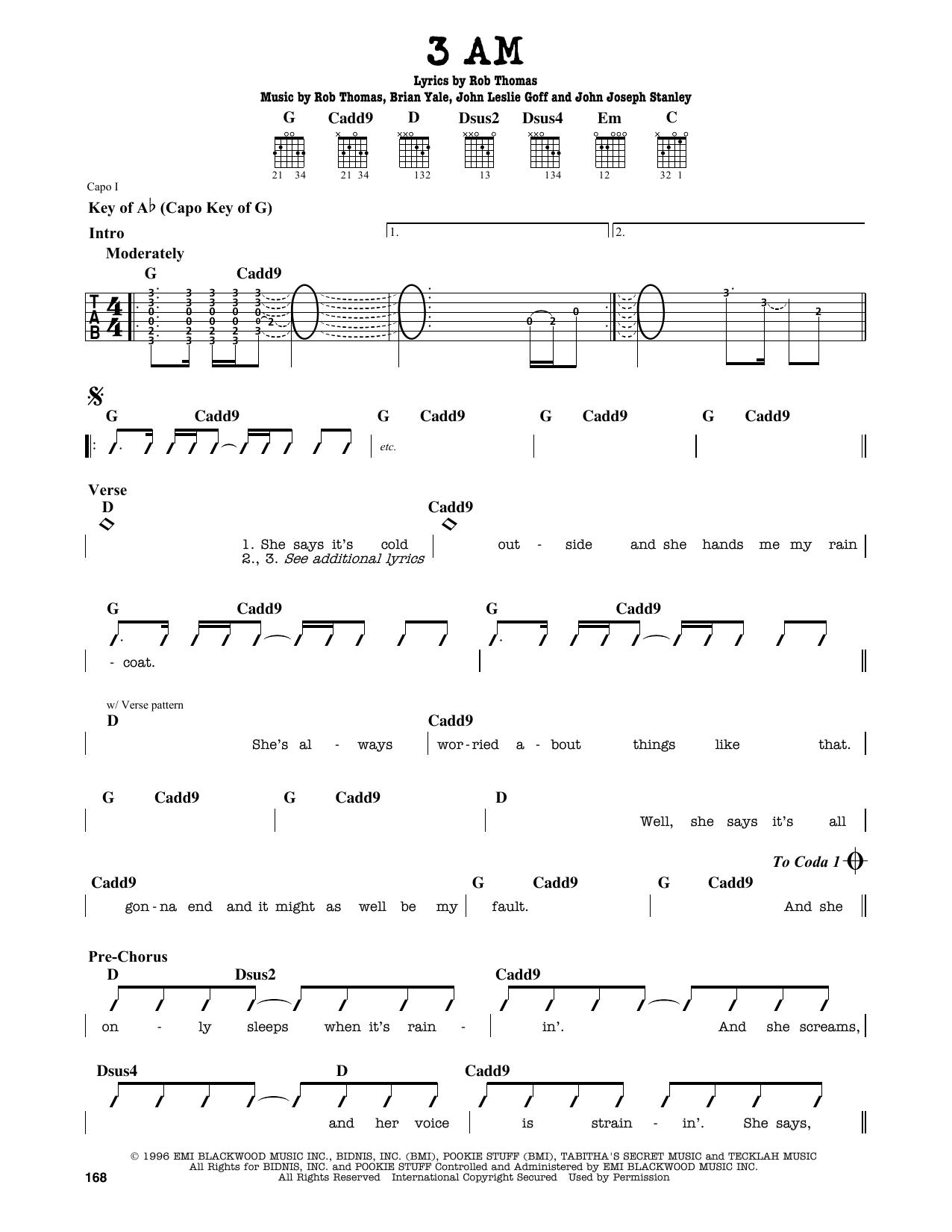 Partition autre 3 AM de Matchbox 20 - Tablature Guitare Lead