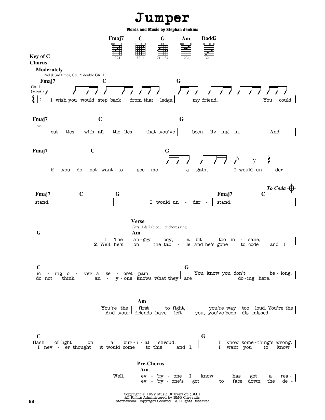 Partition autre Jumper de Third Eye Blind - Tablature Guitare Lead