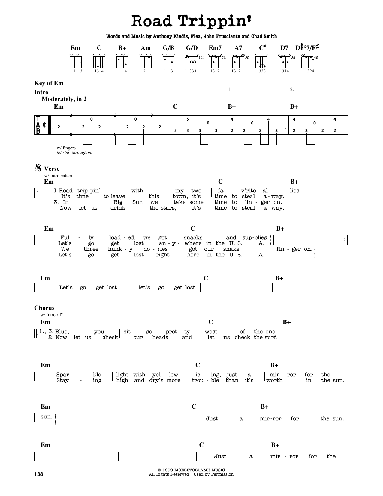 Partition autre Road Trippin' de Red Hot Chili Peppers - Tablature Guitare Lead
