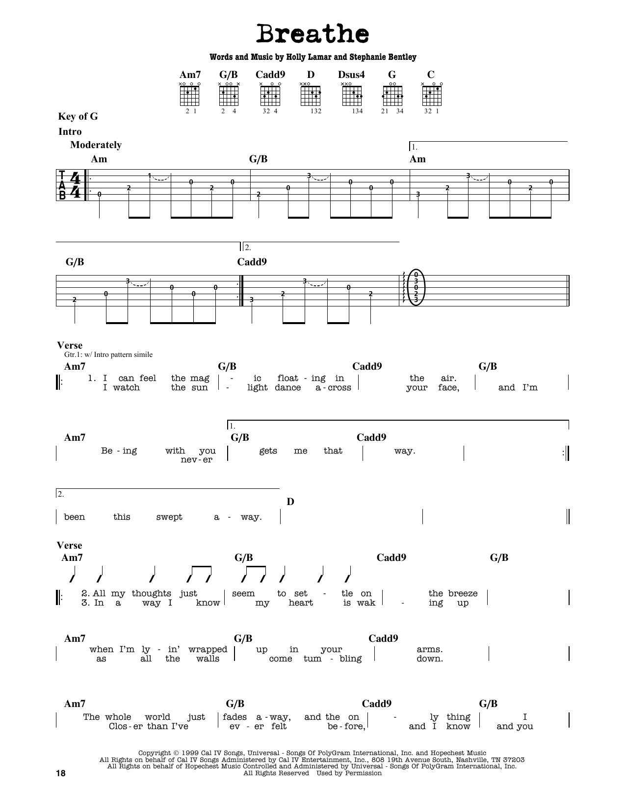 Partition autre Breathe de Faith Hill - Tablature Guitare Lead