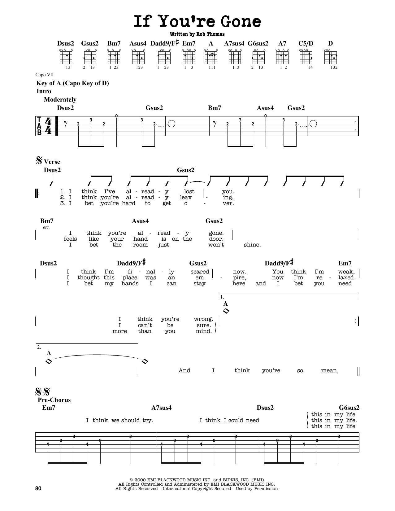 Partition autre If You're Gone de Matchbox Twenty - Tablature Guitare Lead