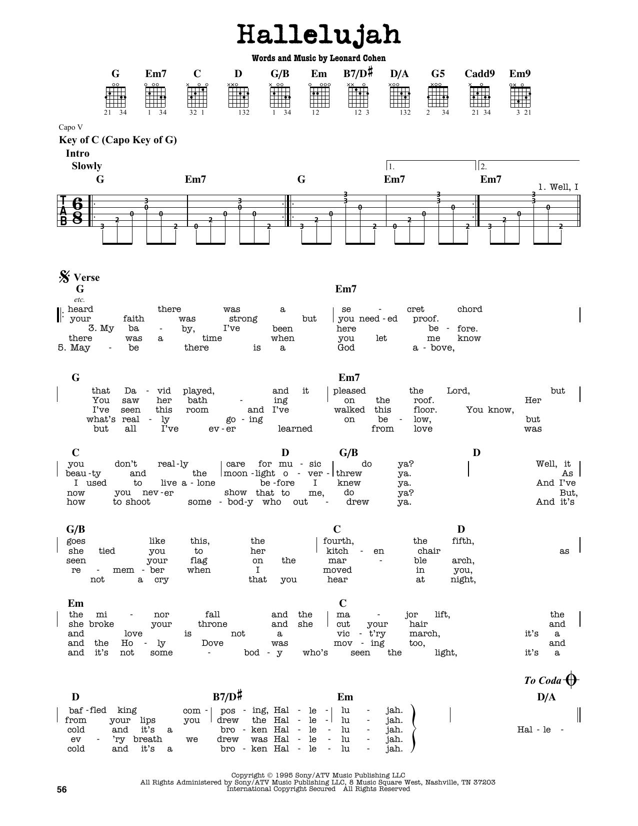 Partition autre Hallelujah (feat. Charlie Sexton) de Justin Timberlake & Matt Morris - Tablature Guitare Lead