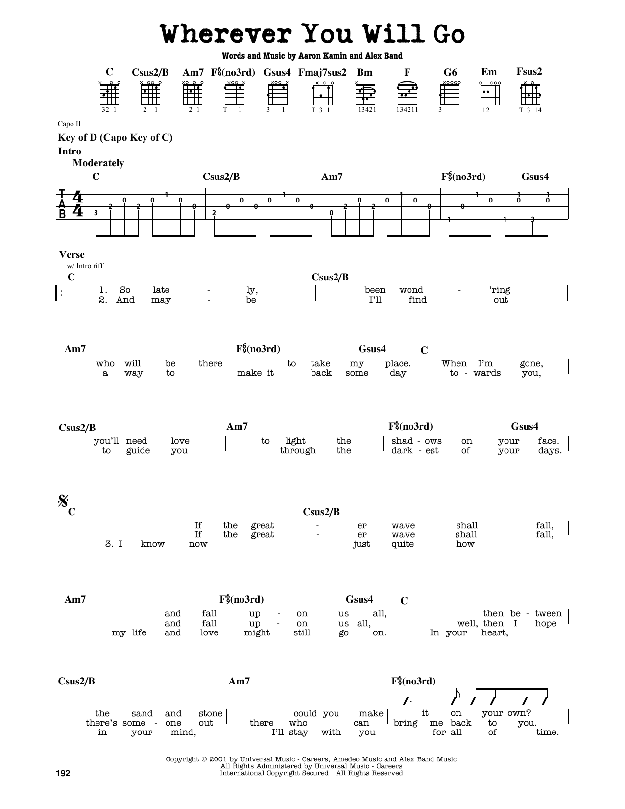 Partition autre Wherever You Will Go de The Calling - Tablature Guitare Lead