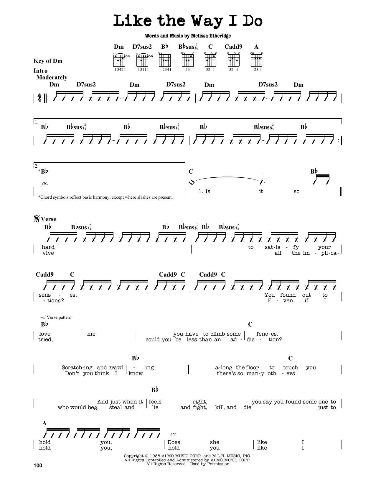 Partition autre Like The Way I Do de Melissa Etheridge - Tablature Guitare Lead