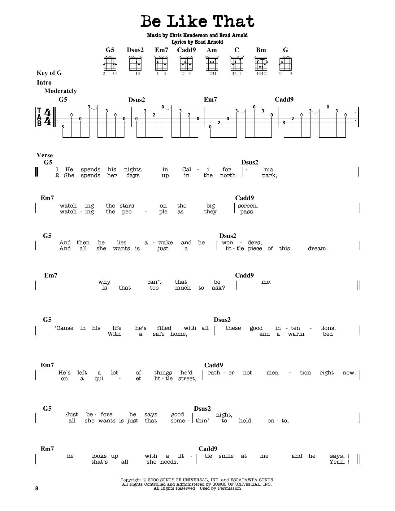Partition autre Be Like That de 3 Doors Down - Tablature Guitare Lead