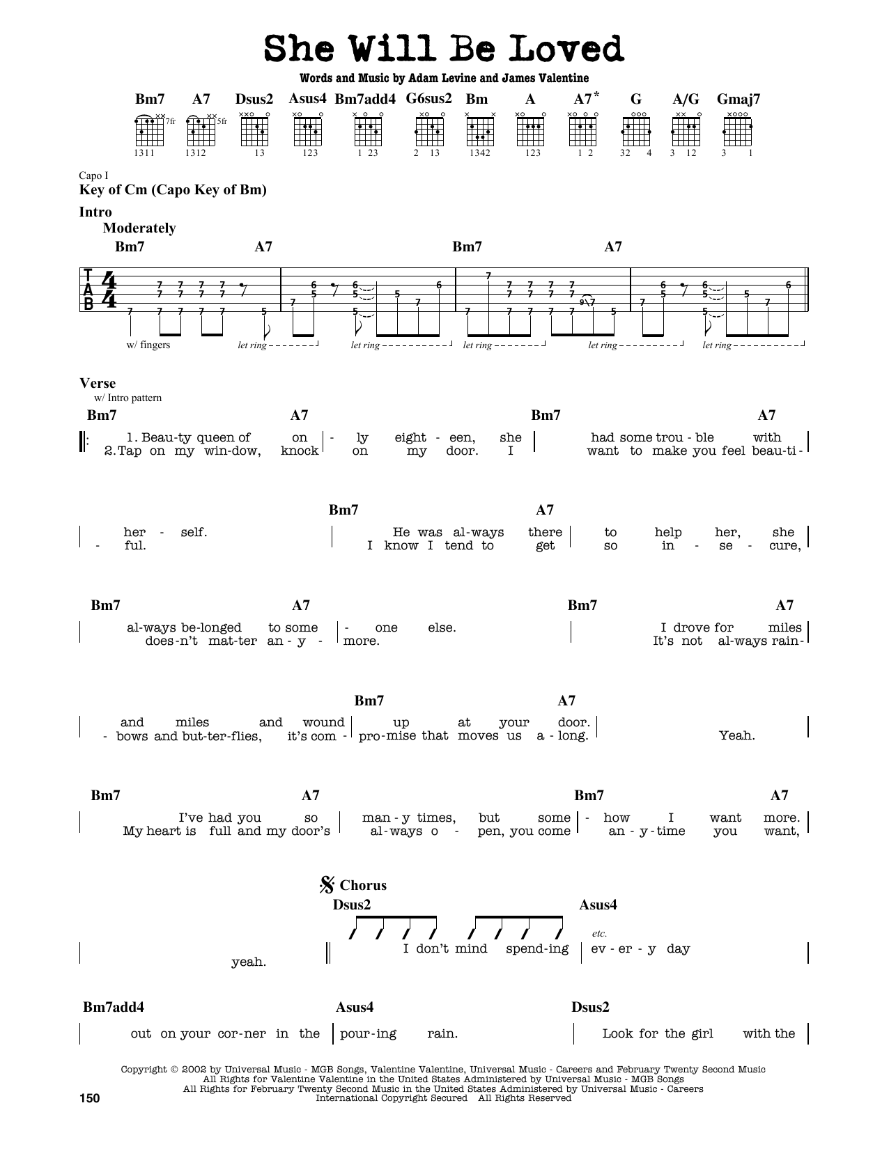 Partition autre She Will Be Loved de Maroon 5 - Tablature Guitare Lead