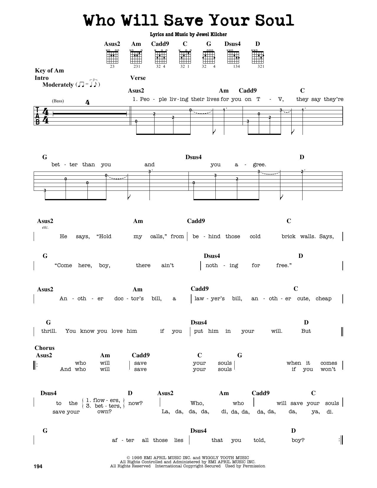 Partition autre Who Will Save Your Soul de Jewel - Tablature Guitare Lead