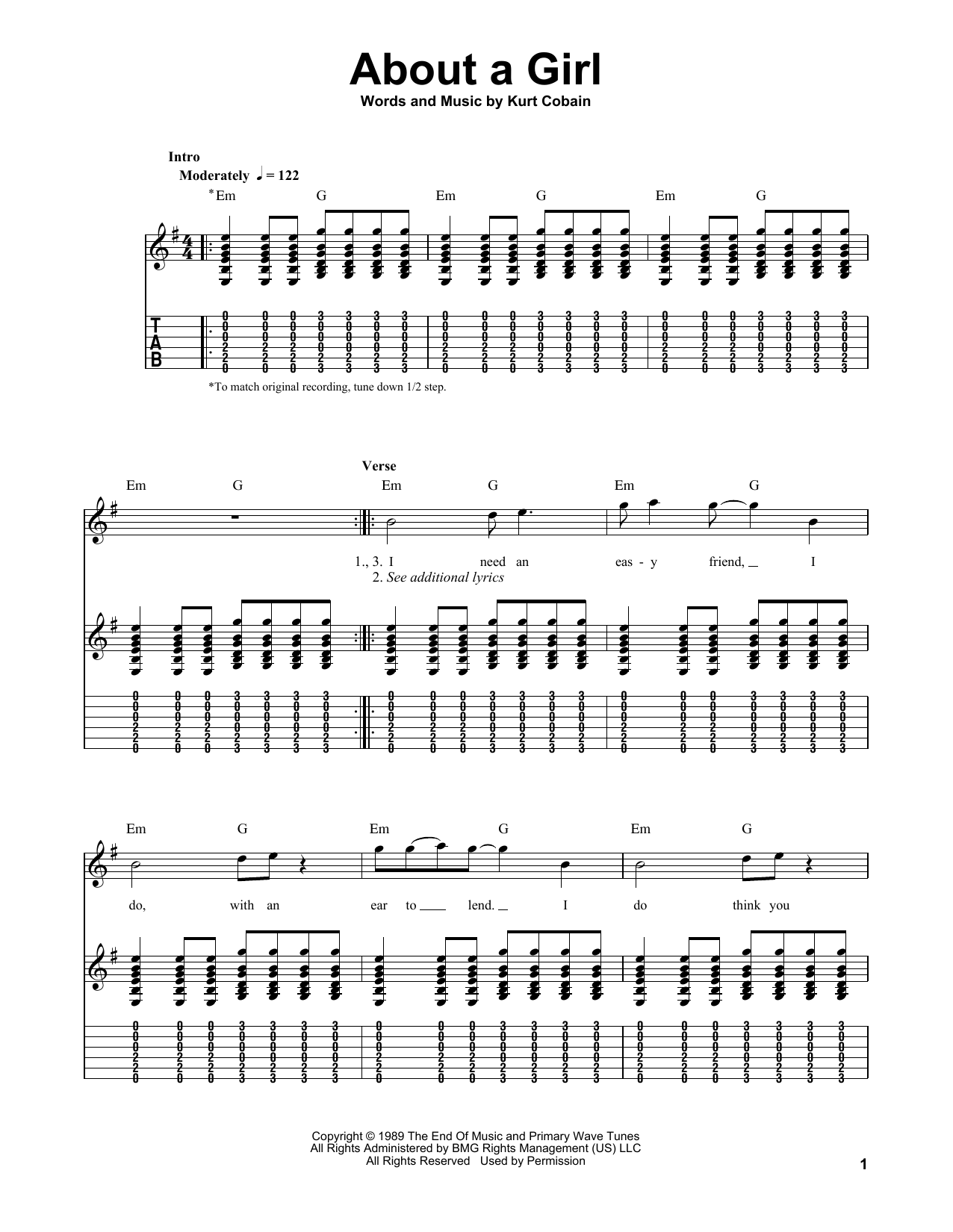 Tablature guitare About A Girl de Nirvana - Tablature guitare facile