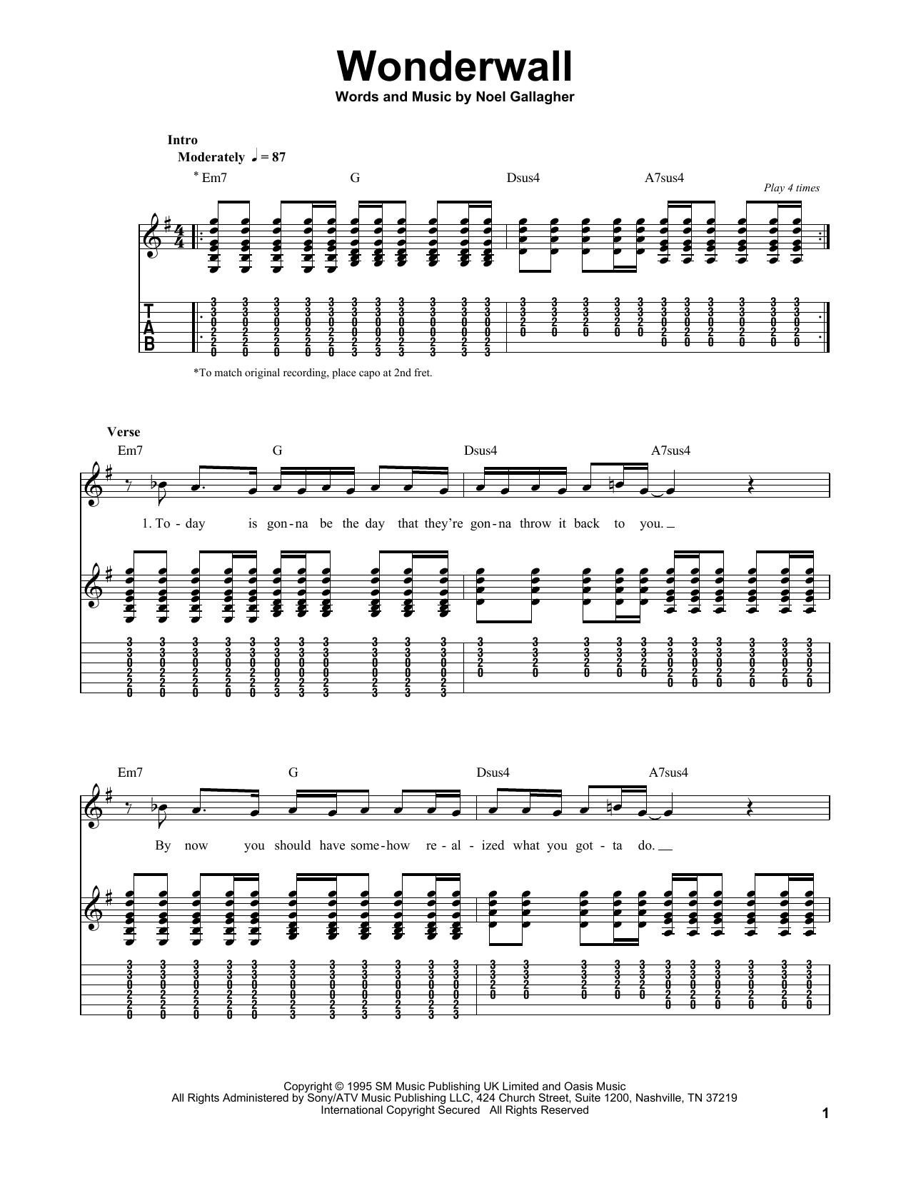 Tablature guitare Wonderwall de Oasis - Tablature guitare facile