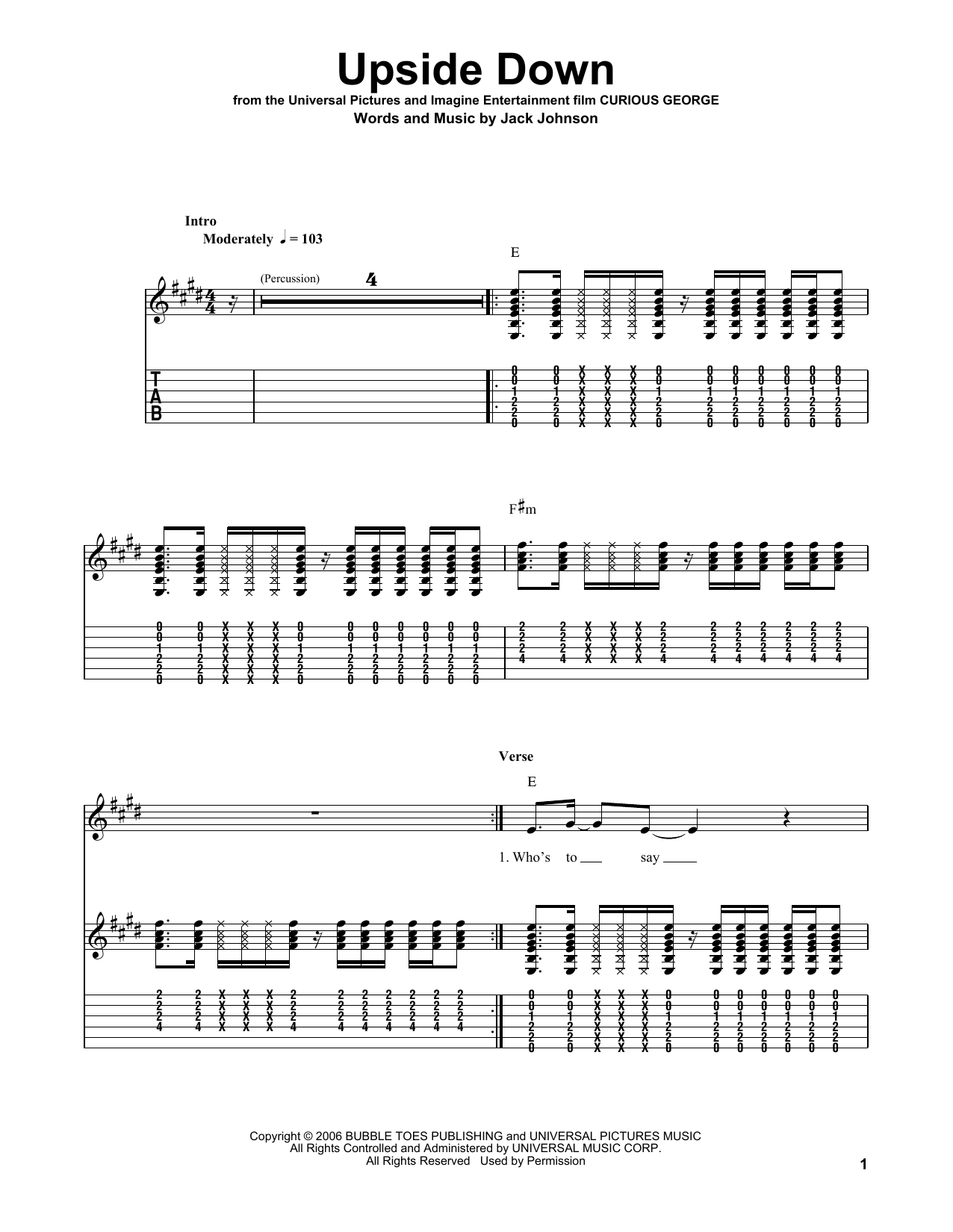 Tablature guitare Upside Down de Jack Johnson - Tablature guitare facile