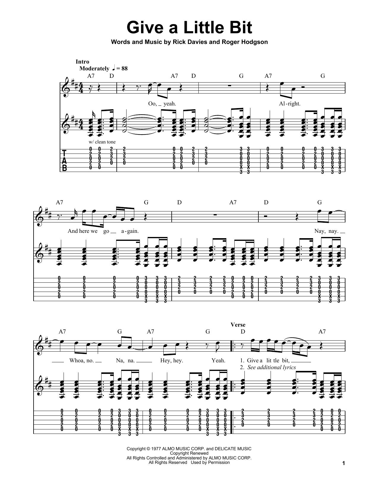 Tablature guitare Give A Little Bit de Supertramp - Tablature guitare facile