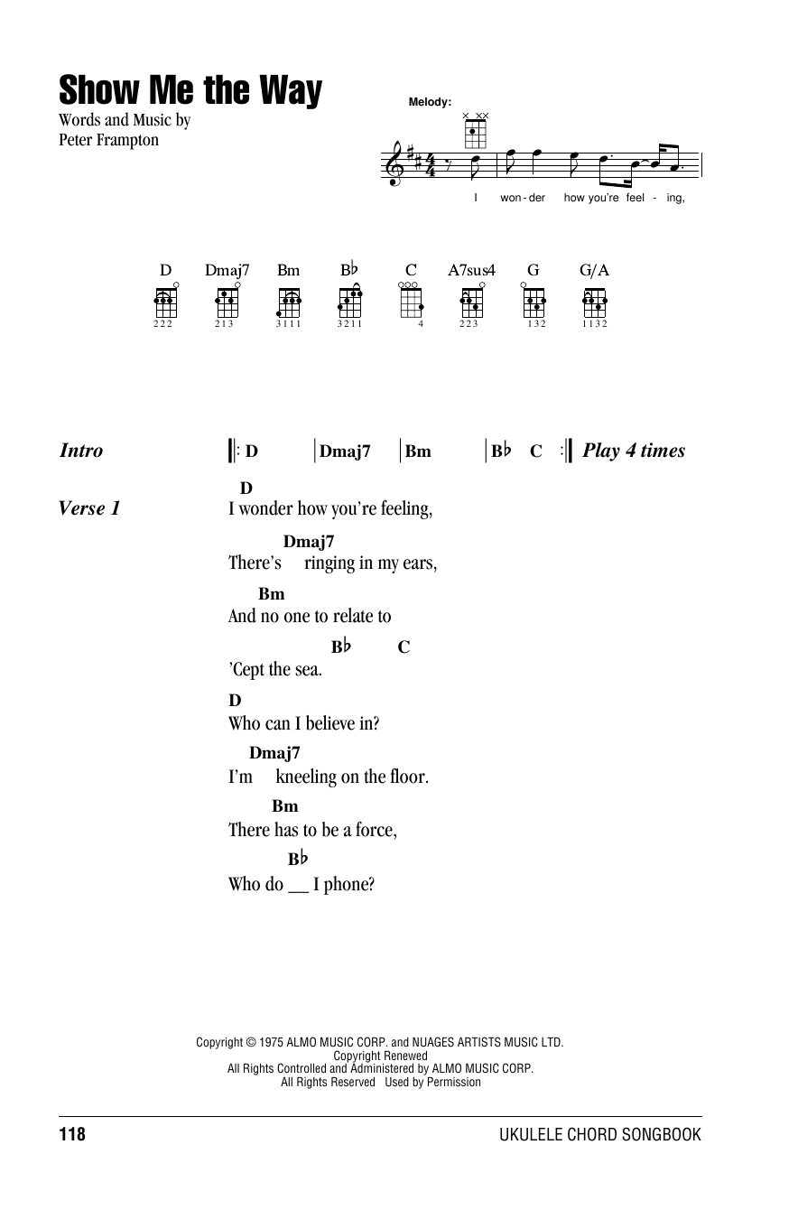 Tablature guitare Show Me The Way de Peter Frampton - Ukulele (strumming patterns)