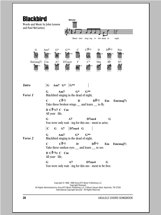 Tablature guitare Blackbird de The Beatles - Ukulele (strumming patterns)