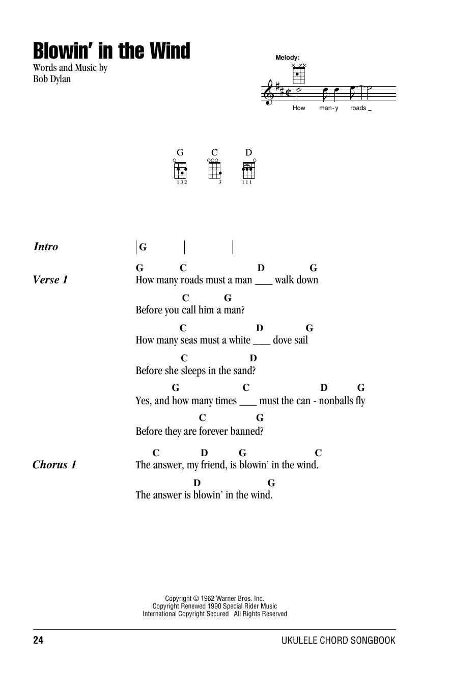 Tablature guitare Blowin' In The Wind de Bob Dylan - Ukulele (strumming patterns)