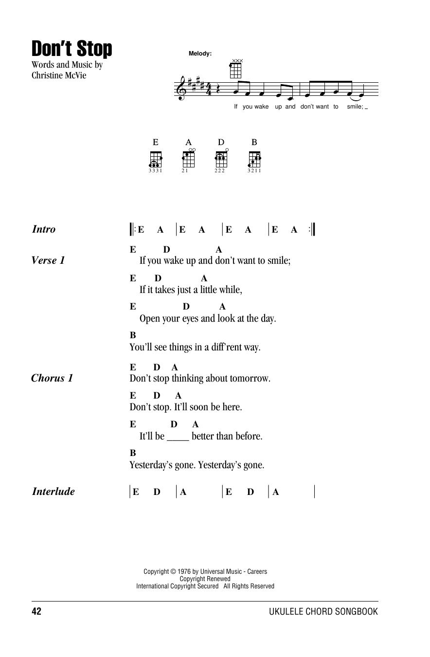 Tablature guitare Don't Stop de Fleetwood Mac - Ukulele (strumming patterns)