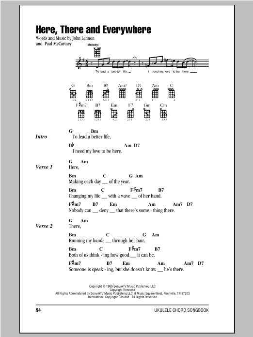 Tablature guitare Here, There And Everywhere de The Beatles - Ukulele (strumming patterns)