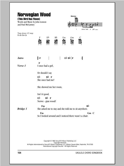 Tablature guitare Norwegian Wood (This Bird Has Flown) de The Beatles - Ukulele (strumming patterns)