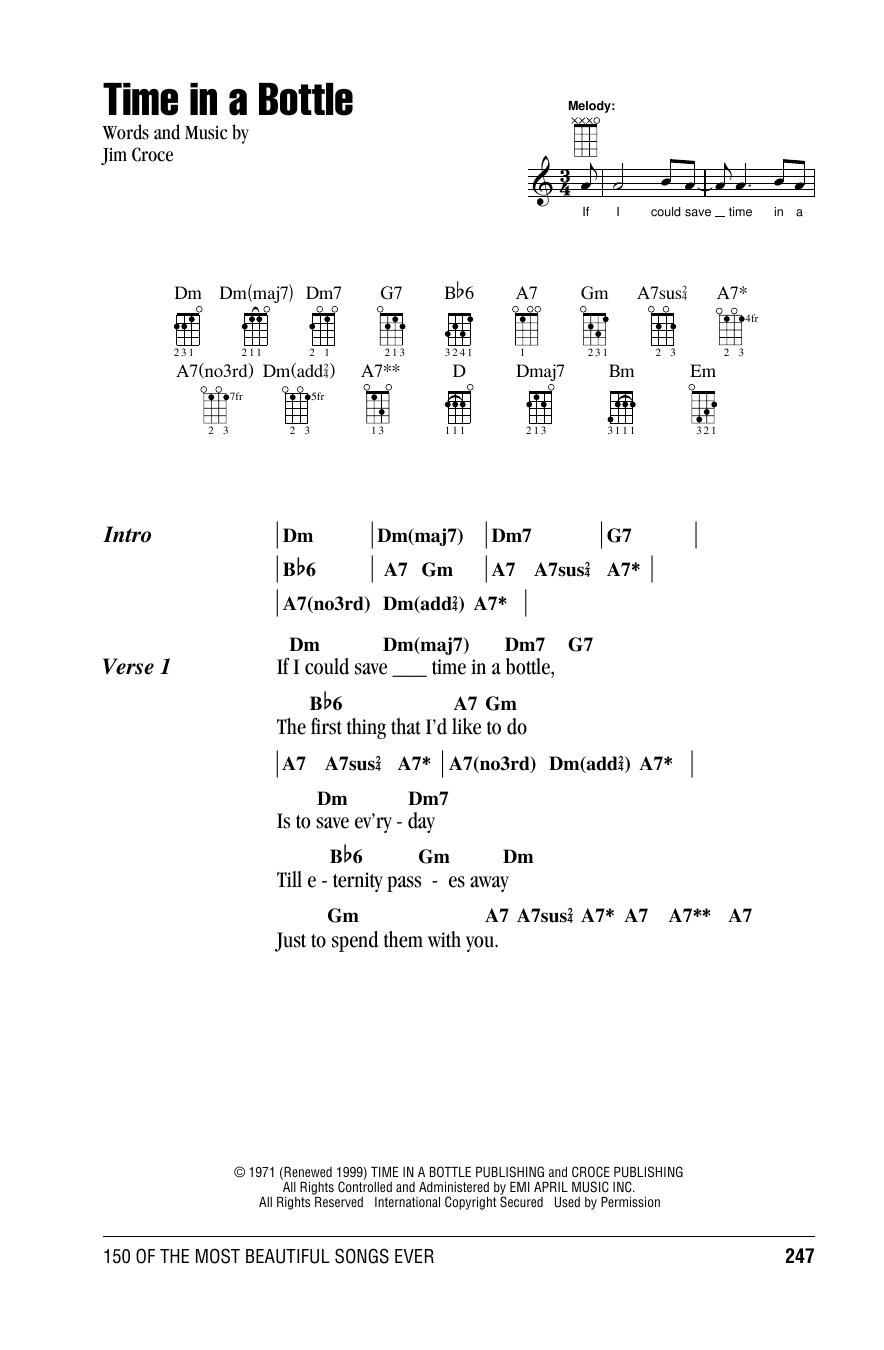 Tablature guitare Time In A Bottle de Jim Croce - Ukulele (strumming patterns)