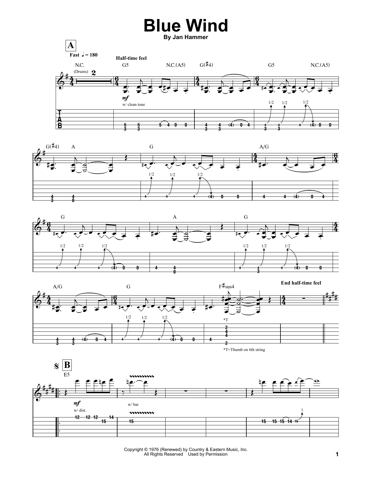 Tablature guitare Blue Wind de Jeff Beck - Tablature Guitare