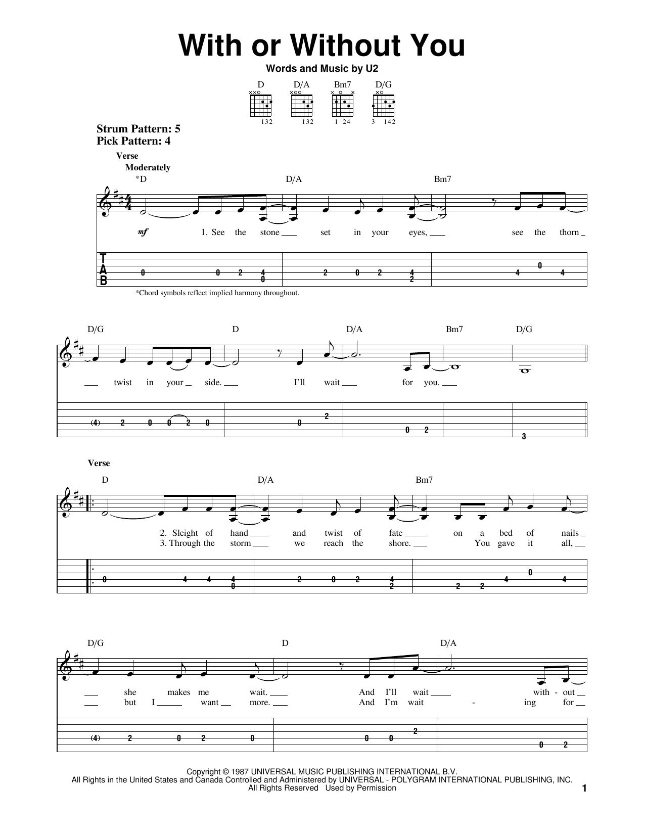 Tablature guitare With Or Without You de U2 - Tablature guitare facile