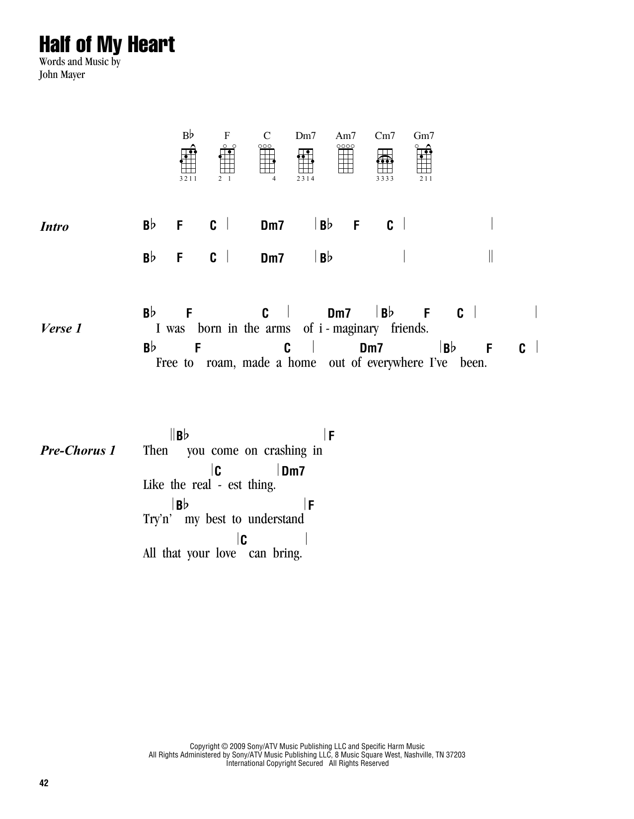 Tablature guitare Half Of My Heart (feat. Taylor Swift) de John Mayer - Ukulele (strumming patterns)