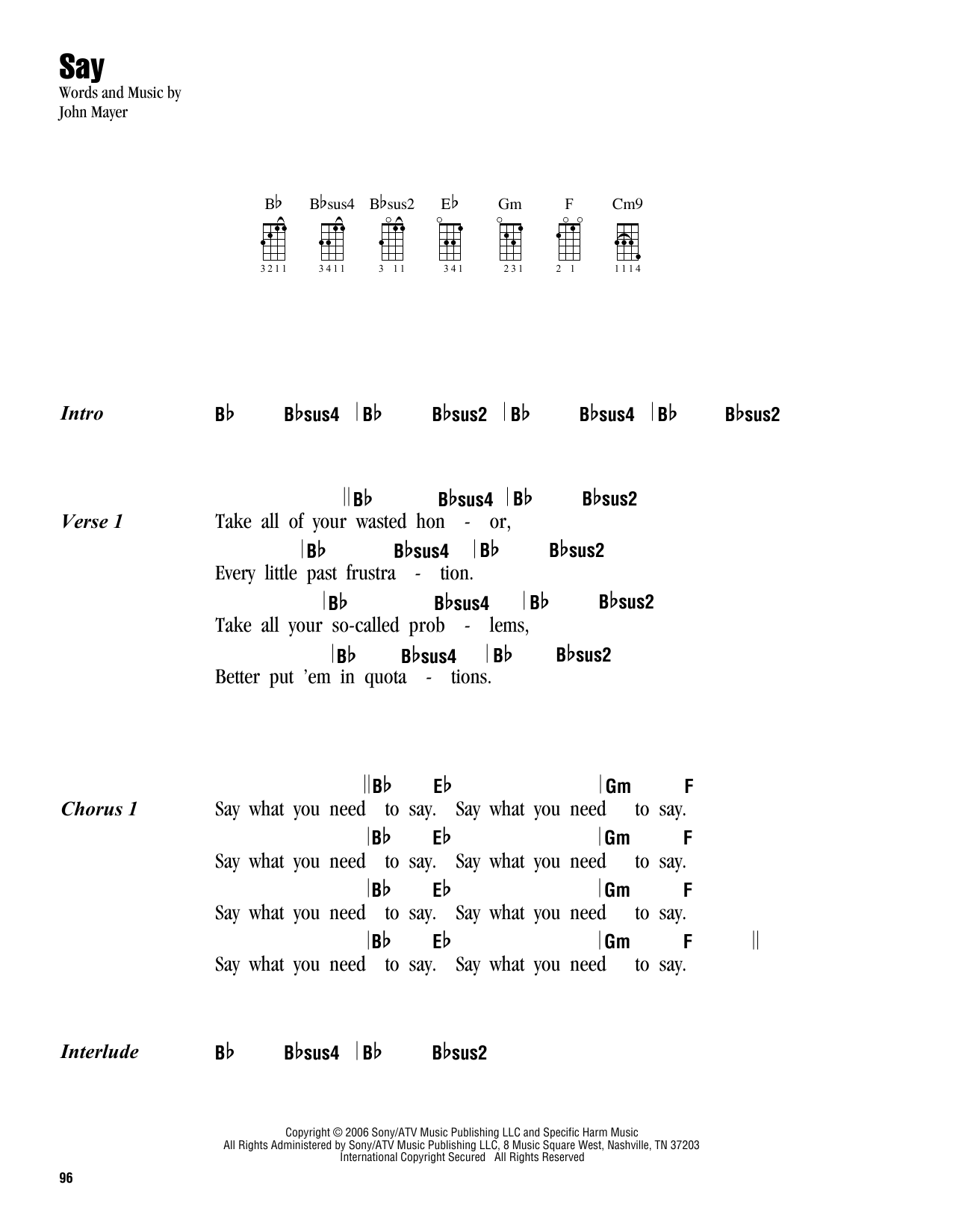 Tablature guitare Say de John Mayer - Ukulele (strumming patterns)