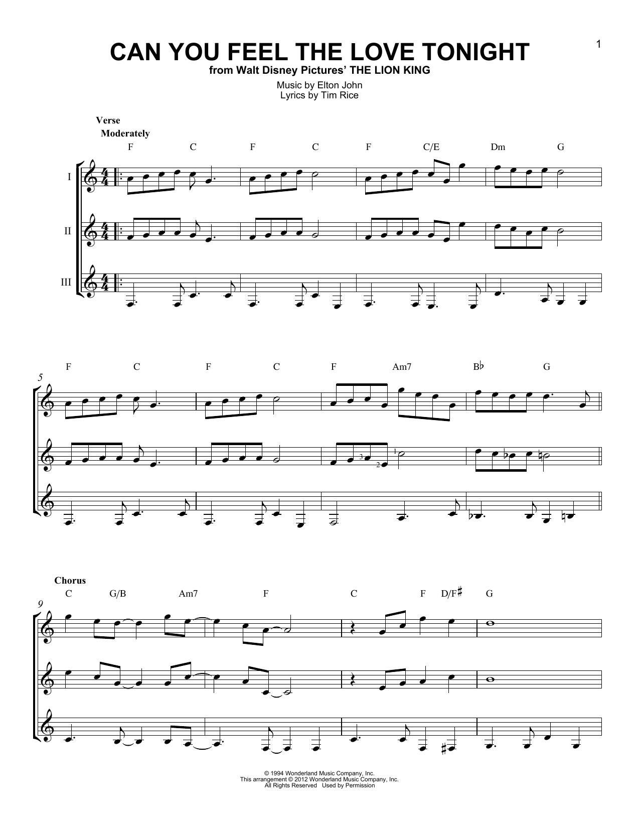Partition autre Can You Feel The Love Tonight de Elton John - Autre