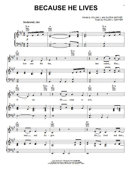 Sheet Music Digital Files To Print - Licensed William J. Gaither ...