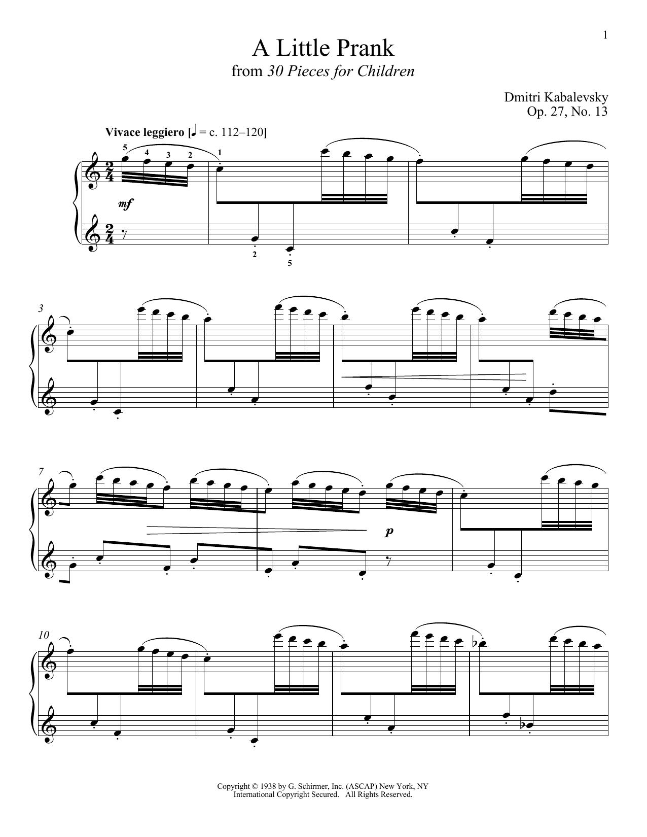 Partition piano A Little Prank de Richard Walters - Piano Solo