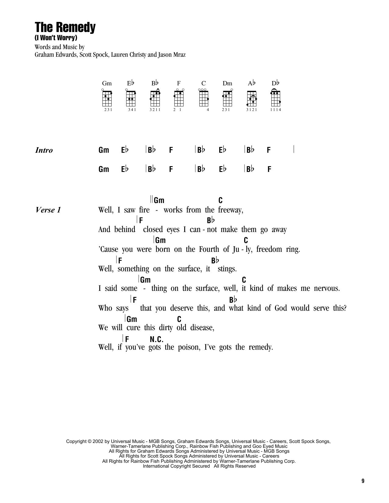 Tablature guitare The Remedy (I Won't Worry) de Jason Mraz - Ukulele (strumming patterns)
