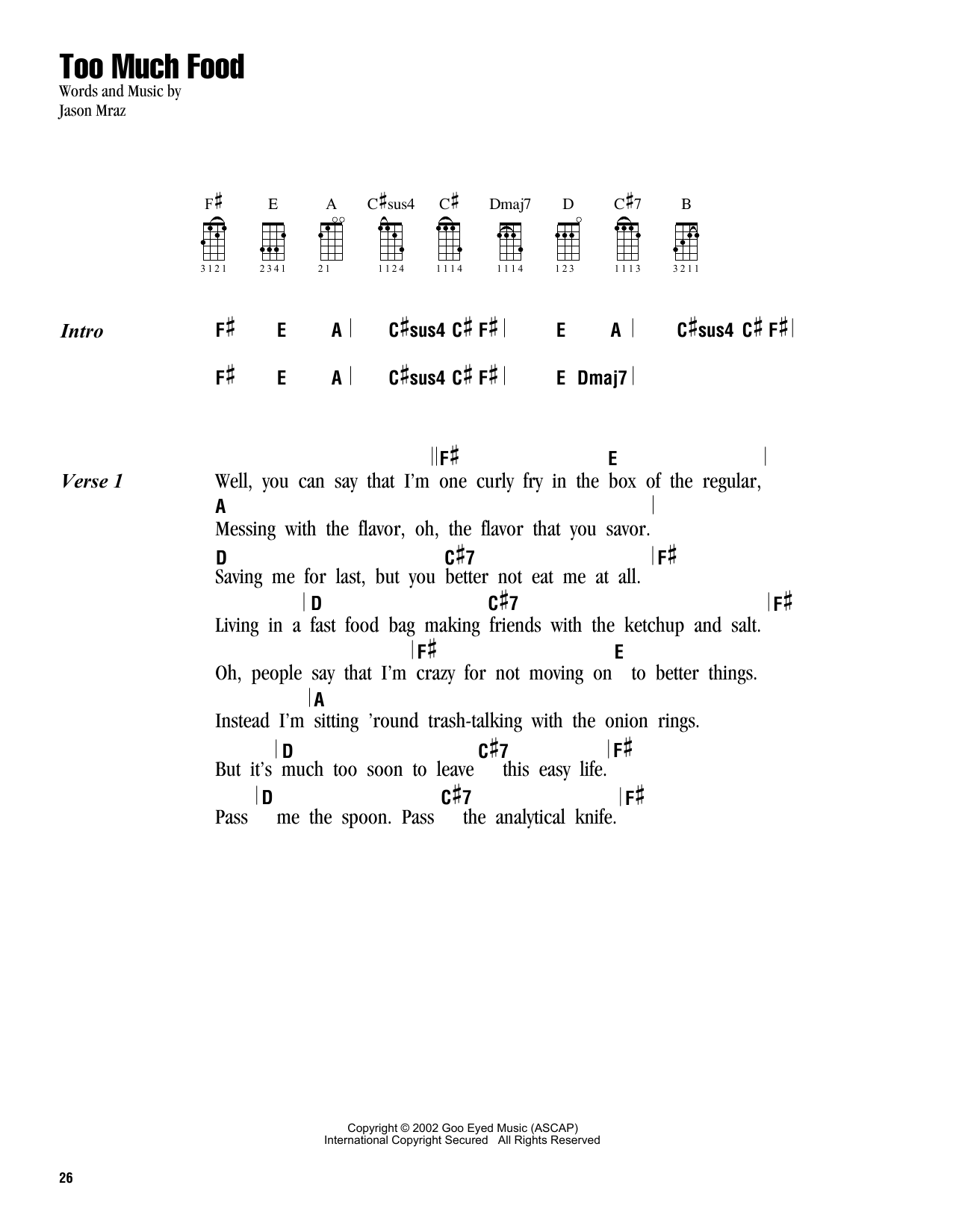 Tablature guitare Too Much Food de Jason Mraz - Ukulele (strumming patterns)