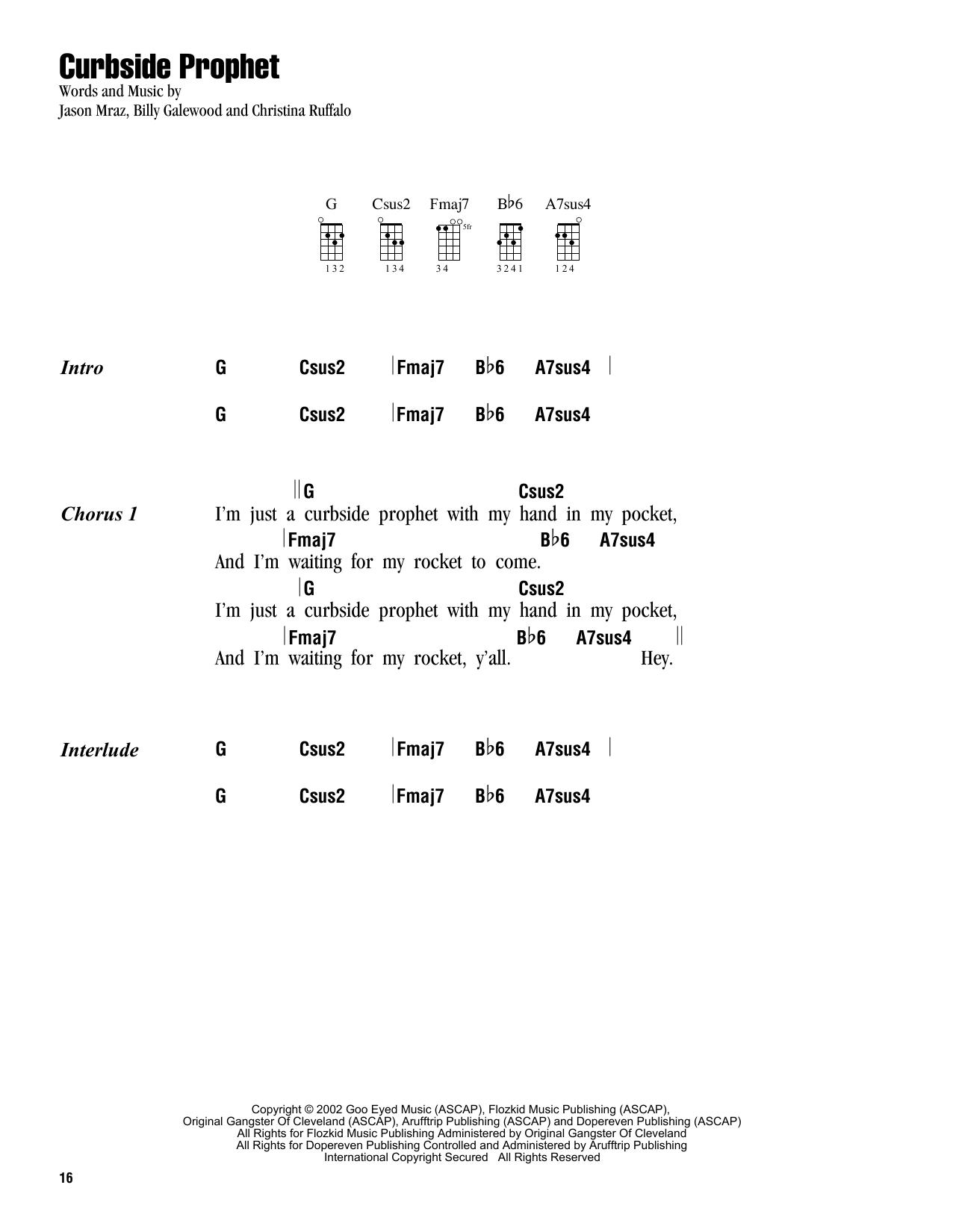 Tablature guitare Curbside Prophet de Jason Mraz - Ukulele (strumming patterns)