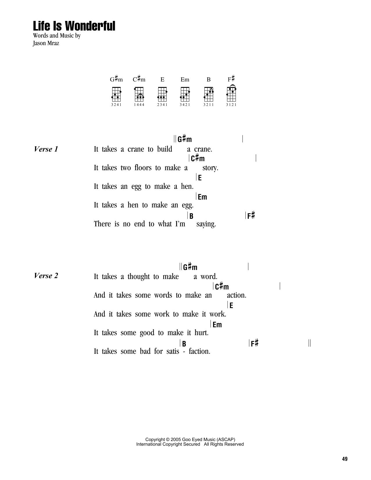 Tablature guitare Life Is Wonderful de Jason Mraz - Ukulele (strumming patterns)