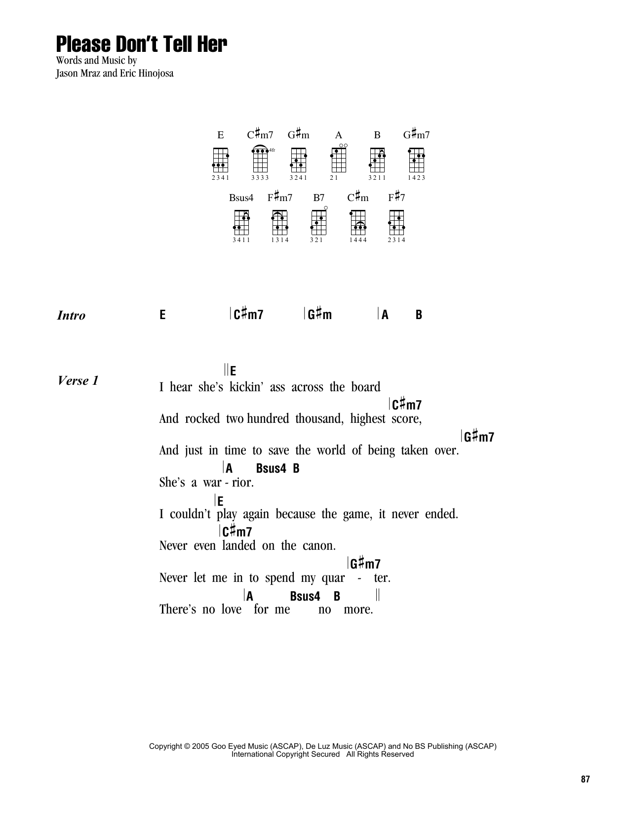 Tablature guitare Please Don't Tell Her de Jason Mraz - Ukulele (strumming patterns)