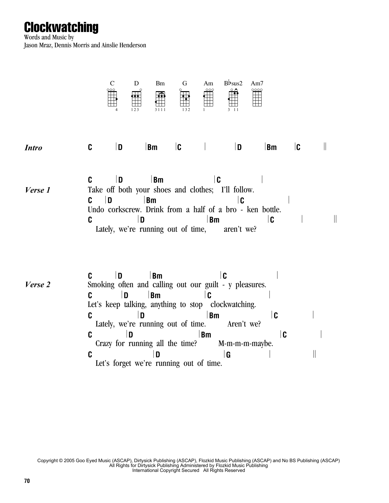 Tablature guitare Clockwatching de Jason Mraz - Ukulele (strumming patterns)