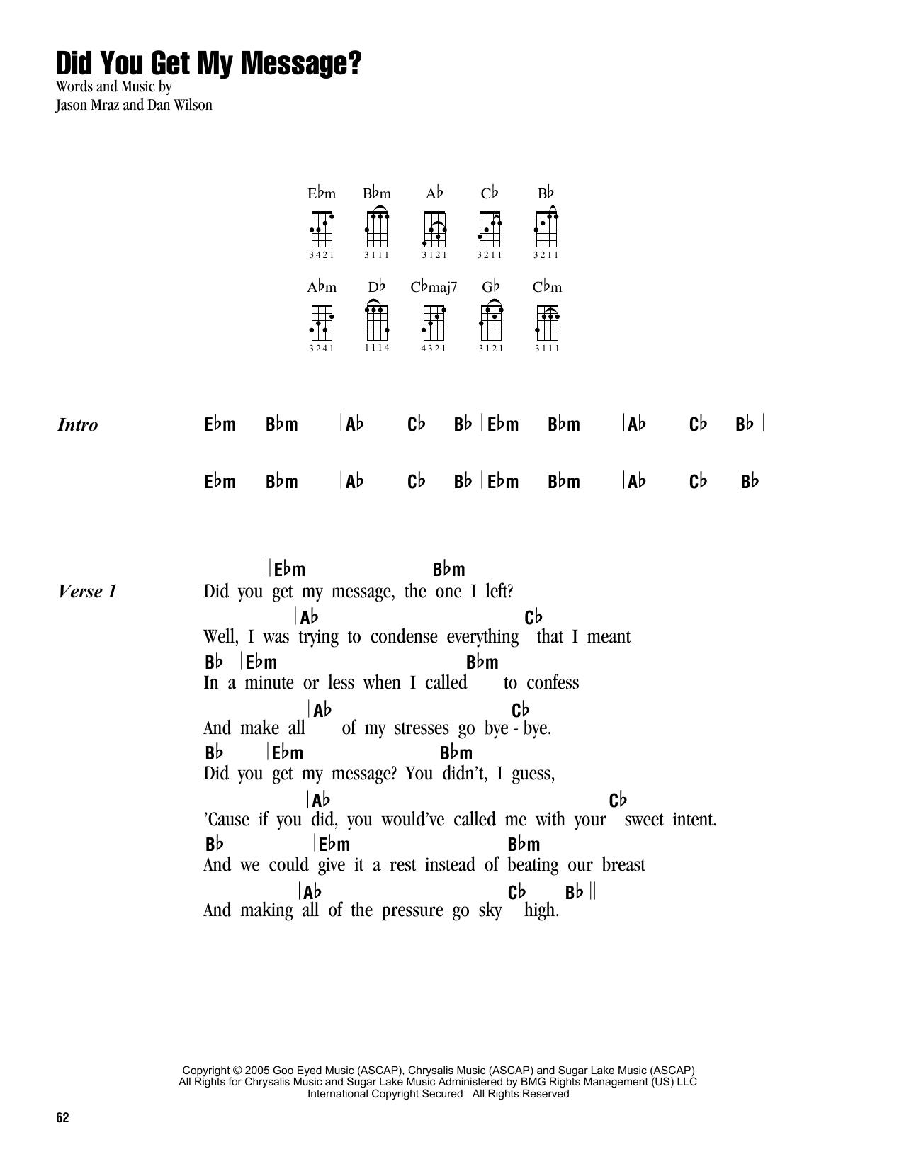 Tablature guitare Did You Get My Message? de Jason Mraz - Ukulele (strumming patterns)