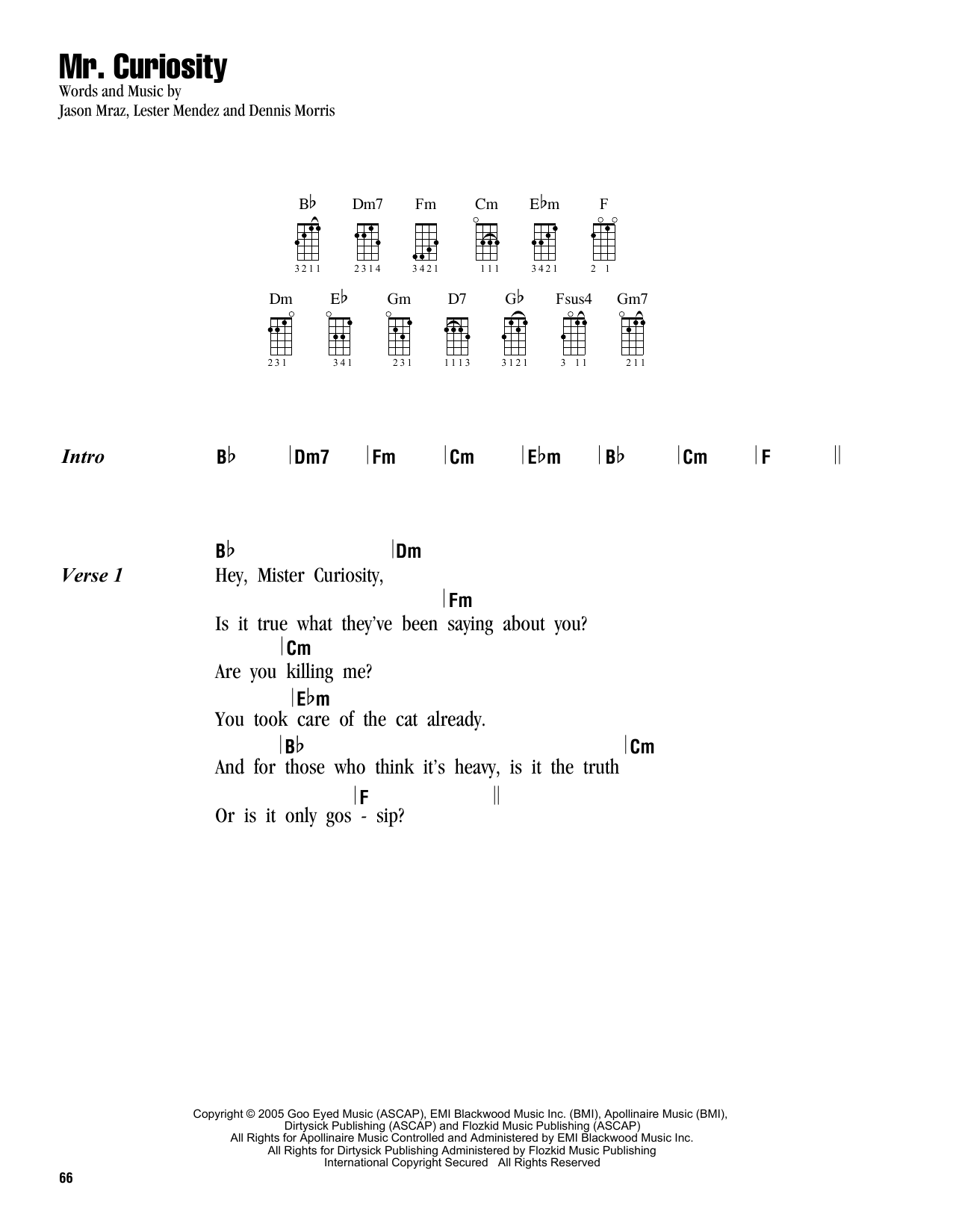 Tablature guitare Mr. Curiosity de Jason Mraz - Ukulele (strumming patterns)